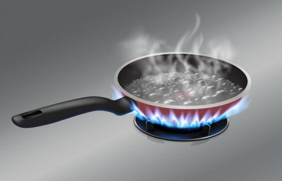 正在煤气灶上烧水的平底锅厨房用品图片png免抠素材