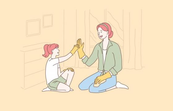 和女儿一起做家务的妈妈手绘插画图片免抠素材