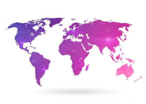 紫色发光的世界地图图片免抠矢量素材