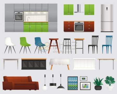 集成灶电冰箱椅子柜子桌子沙发吊灯等厨房家具用品png图片素材