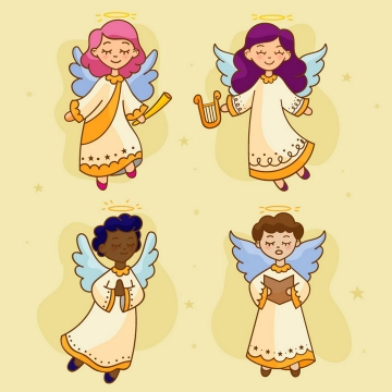 4款卡通天使睡神图片免抠矢量图素材