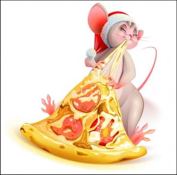 正在吃披萨的卡通老鼠图片免抠矢量素材