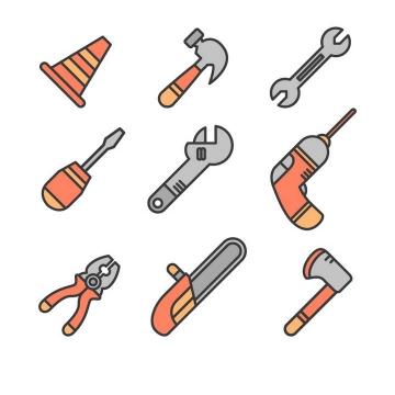 9款线条风格榔头扳手老虎钳等工具icon图标免抠矢量图片素材