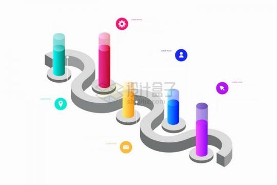 2.5D风格立体柱形图流程图PPT数据图表png图片免抠矢量素材