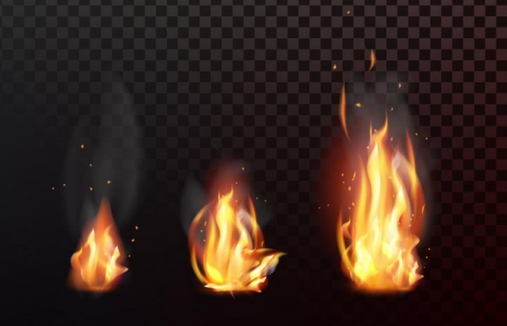 3款燃烧着的火焰篝火图片png免抠素材