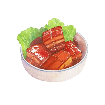 手绘风格美味的红烧肉png图片免抠素材