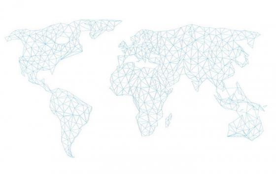 很多三角形组成的世界地图网格图片免抠矢量素材