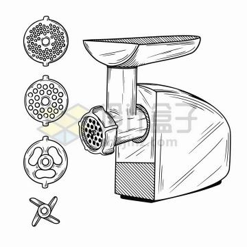 手绘素描风格家用绞肉机厨房小电器png图片免抠矢量素材