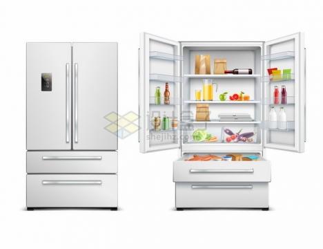 关闭和打开的双门对开电冰箱冷藏柜厨房电器png图片素材