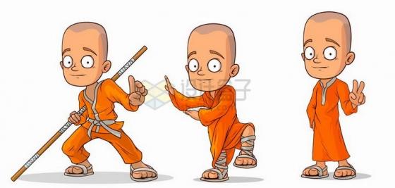 三款会武术的卡通小和尚武僧png图片免抠矢量素材