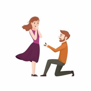 卡通男人单膝下跪拿着婚戒向女朋友求婚png图片免抠矢量素材