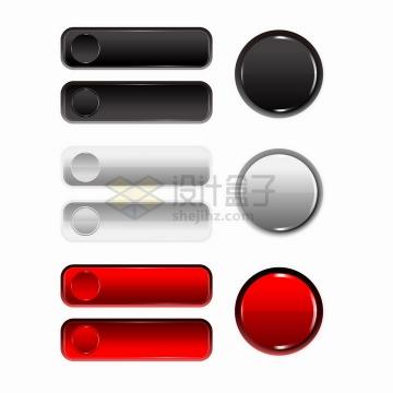 圆形和圆角长方形黑色白色和红色水晶按钮png图片免抠矢量素材