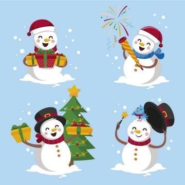 4款正在庆祝的卡通雪人图片免抠矢量图素材