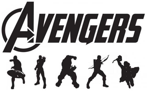 漫威超级英雄剪影和复仇者联盟标志LOGO图片免抠素材