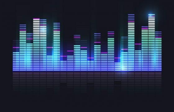 彩色发光短线条组成的音频声波均衡器图片免抠素材