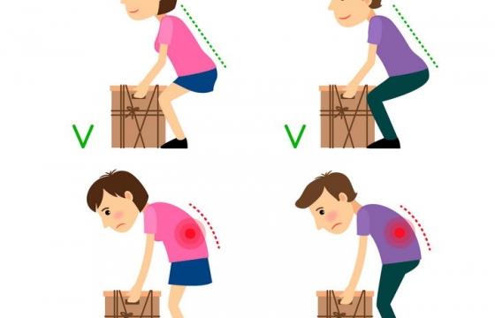 弯腰搬东西正确和错误姿势图片免抠素材
