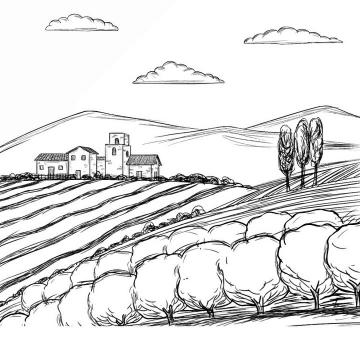 手绘黑色线条素描涂鸦风格乡村风景简笔画免抠矢量图片素材