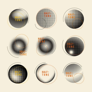 9款黑白色圆点组成的圆球装饰图片免抠素材