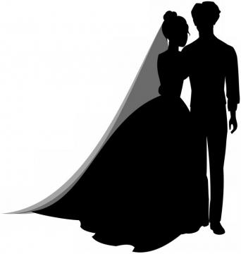 身穿婚纱的结婚新娘新郎剪影png图片免抠素材