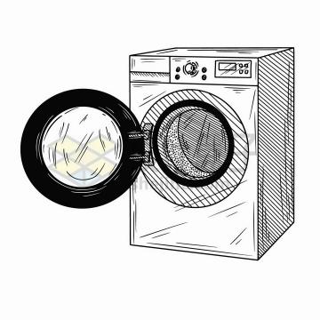 手绘素描风格打开的滚筒洗衣机家用电器png图片免抠矢量素材