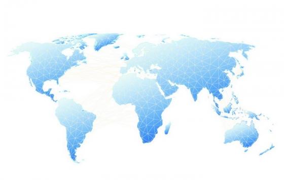 白色线条构成的三角形组成的蓝色世界地图图片免抠矢量素材