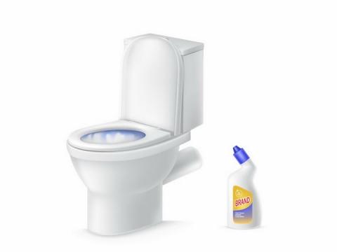 抽水马桶和洁厕灵厕所卫生png图片免抠矢量素材