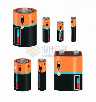 逼真的橙色黑色电池各种规格png图片免抠矢量素材