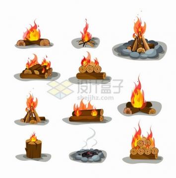 11款卡通篝火木头燃烧的火焰png图片免抠矢量素材