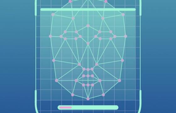 蓝色发光线条组成的人脸识别面部识别系统示意图免抠矢量图片素材