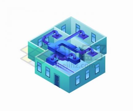 2.5D风格房屋中央空调结构示意图通风系统png图片免抠矢量素材