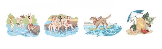 4款手绘插画风格游泳冲浪热带海岛旅游图片免抠矢量图素材