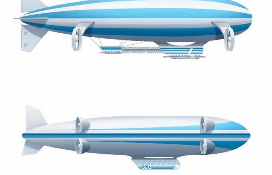 两款蓝色白色的飞艇png图片免抠eps矢量素材