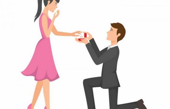单膝下跪的西装男人拿着戒指向女朋友求婚png图片免抠矢量素材