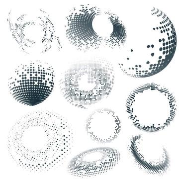 10款纯色圆点组成的圆球装饰图片免抠素材
