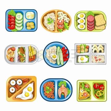 9款塑料餐盘中的蔬菜色拉煎蛋三文鱼等美味美食营养午餐png图片免抠矢量素材