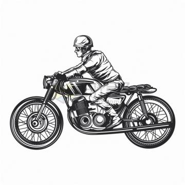 骑手骑着复古摩托车手绘漫画插画png图片素材