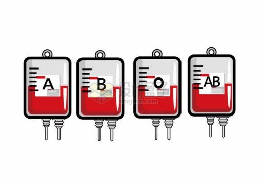 卡通血袋中的O型血A型血B型血和AB型血等血型png图片免抠矢量素材