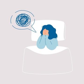 晚上睡不着失眠手绘插画图片免抠素材