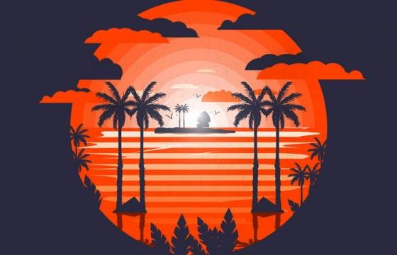 红色热带海岛夕阳风景椰子树剪影图片免抠素材