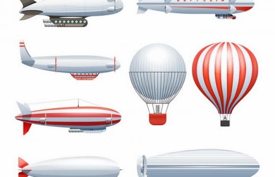各种造型的飞艇和热气球png图片免抠eps矢量素材