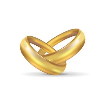 两颗纠缠在一起的黄金戒指结婚戒指免抠矢量图片素材