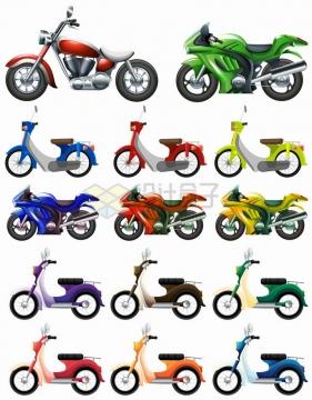 14款彩色摩托车电动车侧面图png图片免抠矢量素材