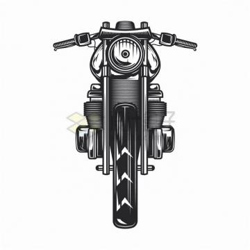 复古摩托车正面手绘漫画插画png图片素材