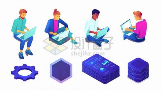 使用笔记本电脑的年轻人和云计算技术png图片免抠矢量素材