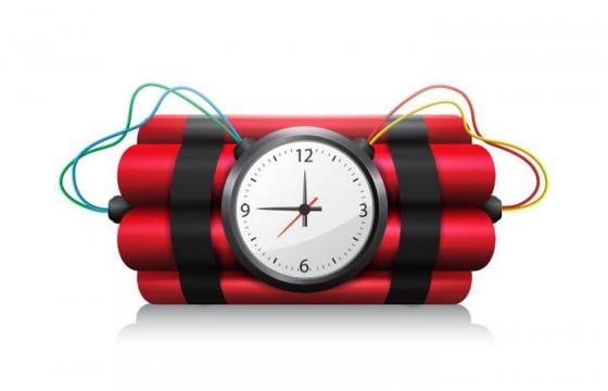 带有时钟闹钟的定时炸弹图片免抠素材