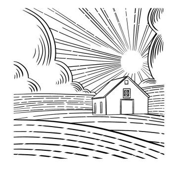 简约线条农村乡村风景简笔画免抠矢量图片素材