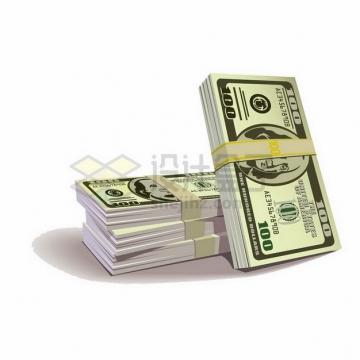 4沓100美元钞票纸币png图片素材