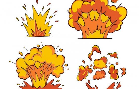 4款卡通漫画插画风格爆炸效果图片免抠素材