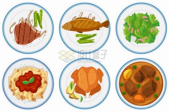 6款白色盘子中的牛排红烧鱼红烧肉烧鸡等美味美食营养午餐png图片免抠矢量素材