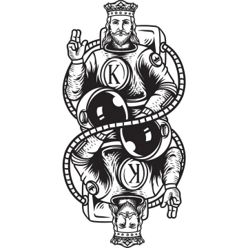 手绘漫画风格扑克牌老K图案图片免抠矢量素材